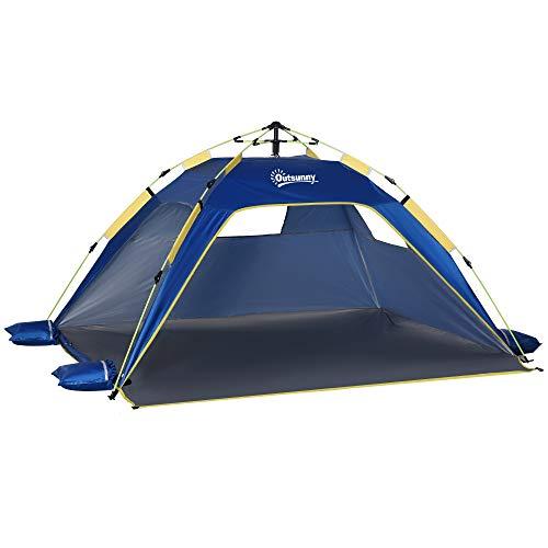 Outsunny Tenda da Spiaggia Pop Up con 2 Finestre Traforate e Porta Richiudibile, 220x173x120cm Blue e Giallo