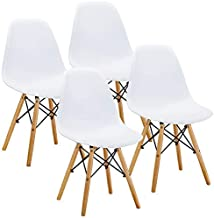 VECELO Style Dining Chair Side Chairs with Natural Wood Legs (Set of 4),Easy Assemble for Kitchen Dining Room,Living Room,Bedroom(White)