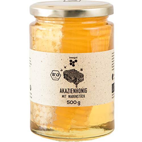 BIO Akazienhonig mit Wabenstück, 500g feinster Honig mit Honigwabe, ursprünglicher & natürlicher Honiggenuss direkt aus dem Bienenstock