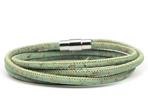 SIMARU Damen Armband / Wickelarmband aus hochwertigem, veganen Kork – mit praktischem Magnet Verschluss aus Edelstahl – Qualität Made in Germany (mint (Größe S))