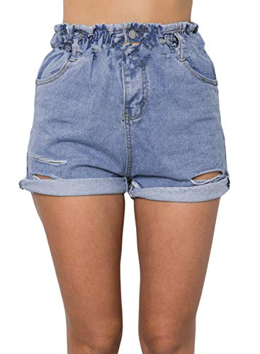 Sidefeel aufgeschlitzte, zerschlissene Damen-Bermuda-Jeans für die Freizeit - - X-Groß