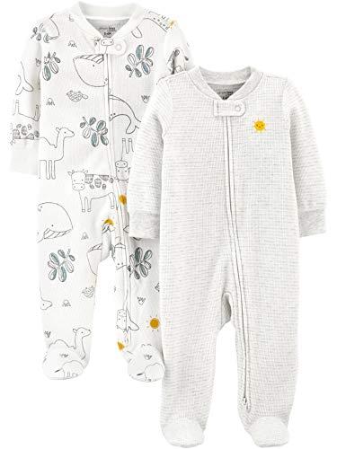 Simple Joys by Carter's Baby 2-Pack 2-Way Zip Thermal Footed Sleep and Play para bebés y niños pequeños, Animales/Sol, 0-3 Meses
