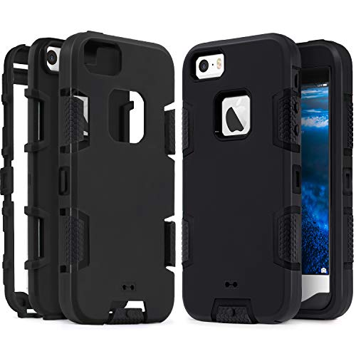IDweel iPhone SE Case, iPhone 5S Case,iPhone 5 Case, Heavy Duty Protection Shockproof Sport Rugged Drop Resistant Dustproof Anti-Scratch Anti-Slip Protective Cover for Apple iPhone 5 5S SE, Black