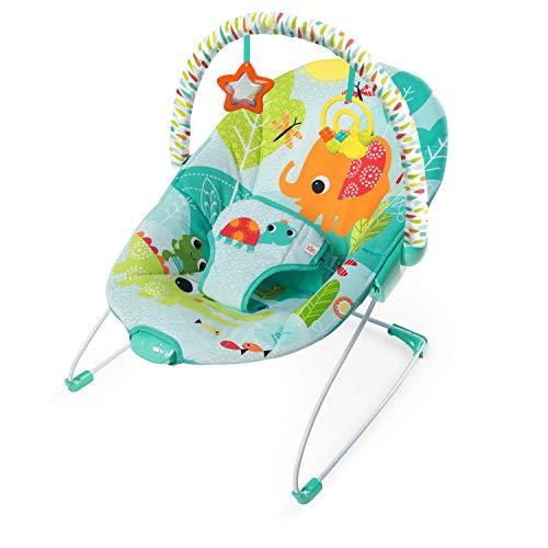 Bright Starts, Babywippe, Raindrop Forest mit Beruhigenden Vibrationen, Maschinenwaschbarem Sitzpolster, Rutschfesten Füßen und 2 Spielzeugen