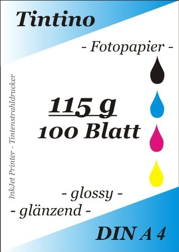 Tintino Lot de 100feuilles de papier photo ultrafin à séchage instantané imperméable pour imprimantes à jet d'encre ...
