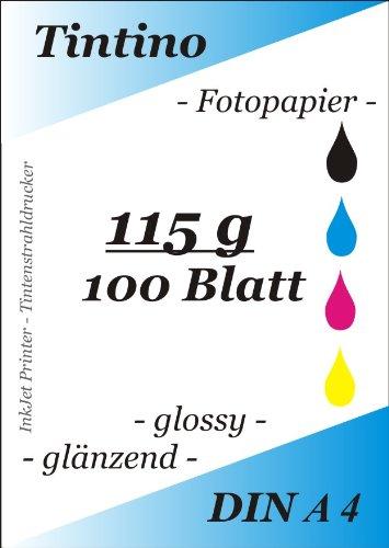 100 Blatt Fotopapier DIN A4 115g/qm extra leicht dünn glossy glaenzend -sofort trocken -wasserfest-hochweiß-sehr hohe Farbbrillianz, fuer InkJet Drucker Tintenstrahldrucker
