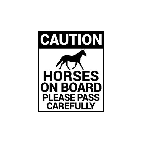 SUIFENG Car Stickers 9.3CMx11.4CM CAUTION HORSES ON BOARD PLEASE PASS CAREFULLY Vinyl Car Sticker Decal Black Sliver