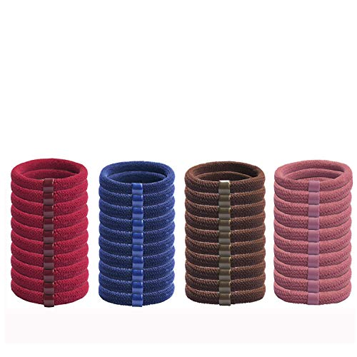 40 Pcs Stretch Hair Ties colours Hair Elastics Rings with Seamless Non Slip Hair Bands Suitable for Heavy and Curly Hair,fit women hair ties,girl hair ties headbands (Navy,Wine red,Brown,Dark pink)