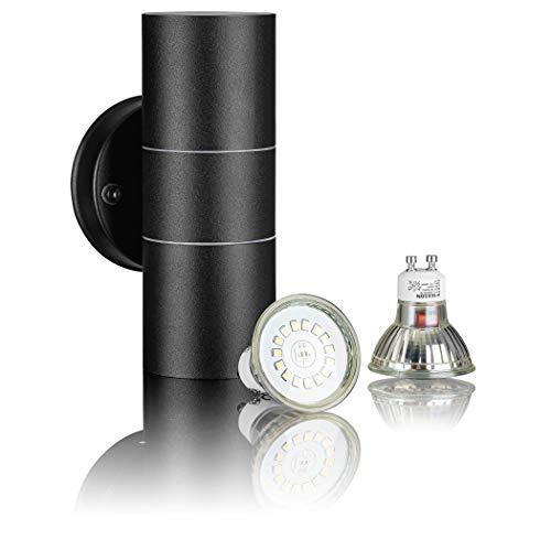 SEBSON Aussenleuchte, Wandleuchte Edelstahl schwarz, up down, inkl. 2x GU10 LED Lampe 3,5W kaltweiß