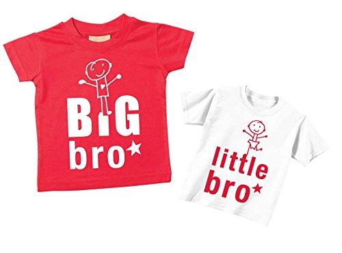 60 Second Makeover Limited Big Bro Petit Frère T-Shirt Set Brother Tshirts Frères Bébé Tout-Petit Enfants Bleu ou Rouge Nouveau bébé Sœur Cadeau - Rouge, Petit 0-6 Mois - Grand 3-4 Ans