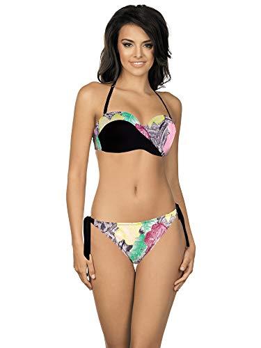 LORIN Damen Push-Up Bikini Set R5007 (Schwarz (Muster-v2), Cup 90 B/Unterteil 44)