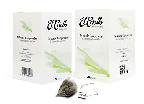 Te Verde Gunpowder Gourmet - El Criollo. 40 bolsitas