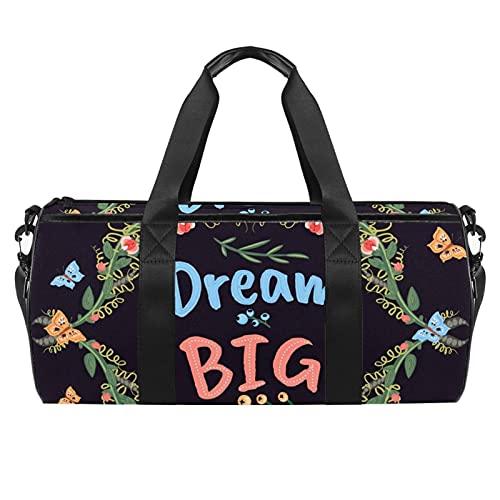 Purple Quote Dream Big Sports - Borsone cilindrico da viaggio, con tasca bagnata, leggera, da viaggio, con tracolla per uomo e donna
