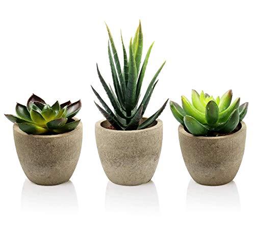 Aibesser 3 Stücke Künstliche Sukkulenten Pflanzen, kunstpflanzen mit Grauem Töpfen, Kunststoff Fälschung Grünes Pflanzen - Tischdeko Haus Balkon Büro Deko, Geschenk