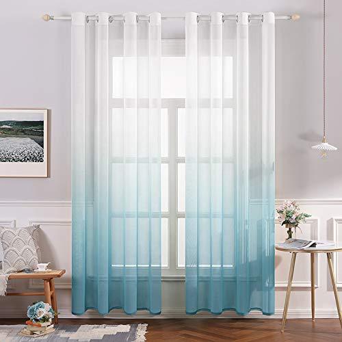 MIULEE Sheer Vorhang Voile Farbverlauf Dekoschal Vorhänge mit Ösen transparent Gardine 2 Stücke Ösenvorhang Gaze paarig Fensterschal für Wohnzimmer 145 cm x 140 cm(H x B) 2er-Set Blau