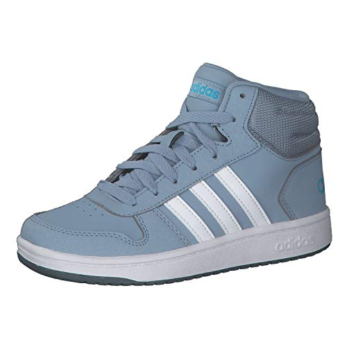 adidas Unisex-Child Hoops 2.0 Mid Sneaker, Tactile Blue Footwear White Legacy Blue, 38 2/3 EU