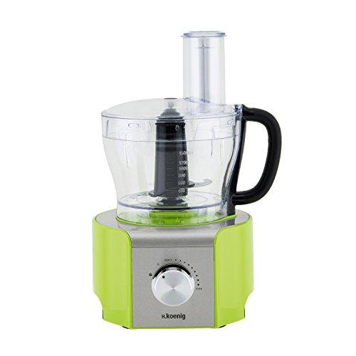 H.Koenig MX 18 MX18 Procesador de Alimentos multifunción Verde, 800W, 1,5 litros, 800 W, Acero...