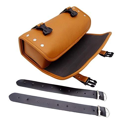 JZWYYF Maletas para Moto Bolsas de sillín de Motocicleta universales Cuero de PU Bolsa de Herramientas de Almacenamiento Lateral de Cuero para Motocicleta Bolsa de Equipaje Frontal (Color : Brown)