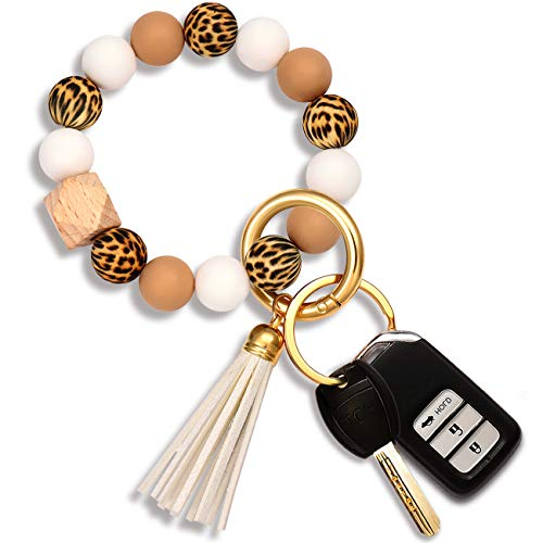 Silicone Key Ring Bracelet Bangles for Women Portable House Car Keys Ring Holder (Leopard+White)