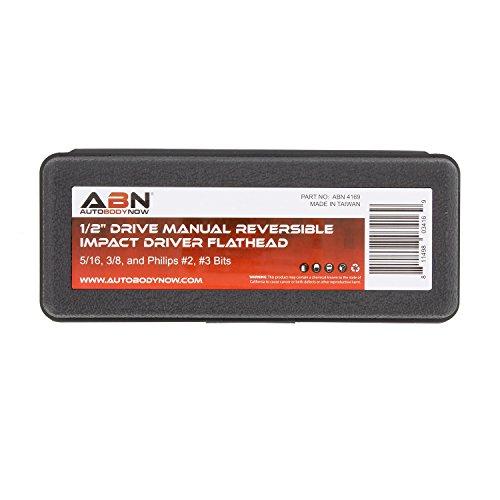 ABN Manual Impact Driver Set - 1/2in Reversible Hand Held Impact Screwdriver and Impact Screwdriver Bits