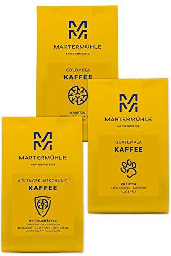 Martermühle | Kaffee Probierset (3 x 250g) | Ganze Bohnen | Premium Kaffeebohnen aus aller Welt | Schonend geröstet | Kaffee säurearm | 100% Arabica