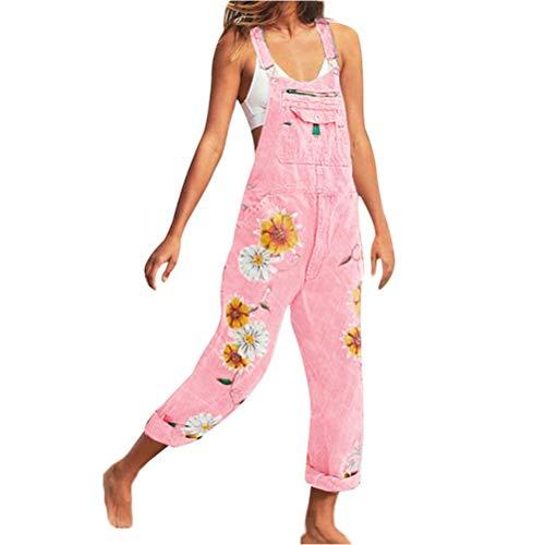 ORANDESIGNE Jeanslatzhose Damen Latzhose Jeans Lange Hose Denim Overall Jumpsuit Playsuit Jeans Vintage Loose Fit Hoseanzug Romper B Rosa Medium