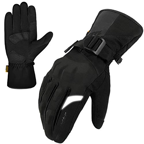 MADBIKE Motorcycle Motocross Waterproof Gloves for Winter Touchscreen Gauntlet (Black, L)