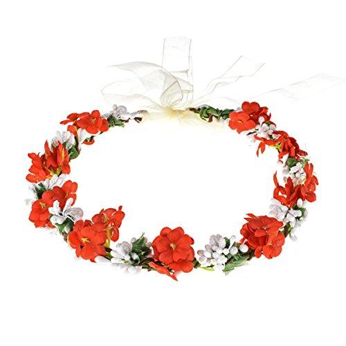 Love Sweety Nature Flower Crown Fruit Headband Boho Garland Wedding Photo Prop (Red)