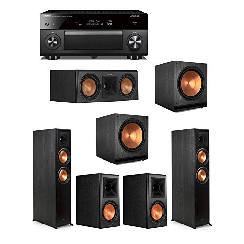 Find Discount Klipsch5.2 Ebony System - 2 RP-6000F,1 RP-500C,2 RP-600M,2 SPL-150,1 RX-A3080 Receiv...