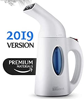 Steamer for Clothes [New 2019] Powerful Handheld Portable Steam Iron. Achieve 7 Tasks-in-1: Garment Ironing. Steam Cleaner. Sanitize. Refresh. Treat and more. for Home/Curtain/Travel/Luggage [White]
