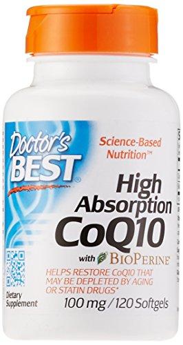 Doctor\'s Best, High Absorption CoQ10 mit BioPerine, 100mg, 120 Weichkapseln - Bioverfügbares und fermentiertes Coenzym Q10, Gentechnikfrei (GMO-frei)