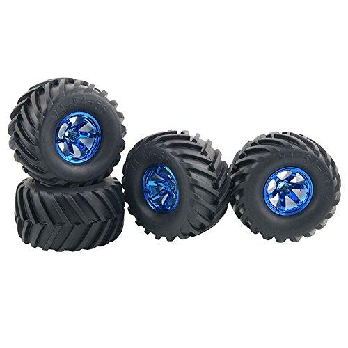 KEEDA - Set di pneumatici in gomma e ruote in plastica per 1/10 RC Monster Truck HSP HPI Traxxas HIMOTO Tamiya Kyosho(blu)