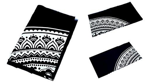 Grande Ambe Premium sábana sábana cama de ropa de cama 100% algodón 210x 230cm blanco y negro Ornament elegante nº C