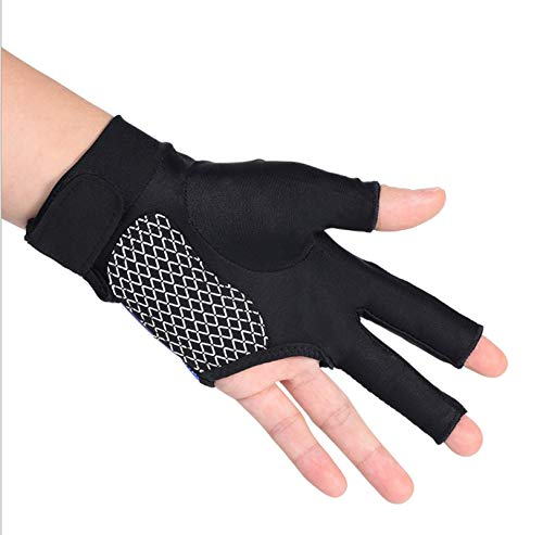 3 Fingers Billiard Gloves Pool Cue Gloves Elastic Breathable Snooker Shooter Carom Cue Sport Gloves Anti-Slip Left Hand Open Show Game Gloves Outdoor Indoor Sports Supplies for Women Men Players