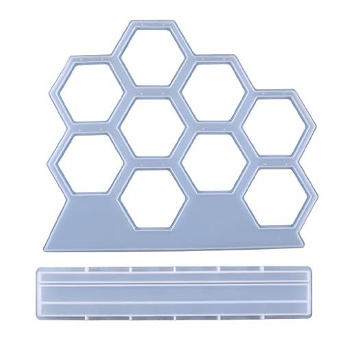 Qiman Show Rack de cristal, resina epoxi, forma hexagonal, forma de pendientes, expositor de silicona, DIY, herramientas de moldeo