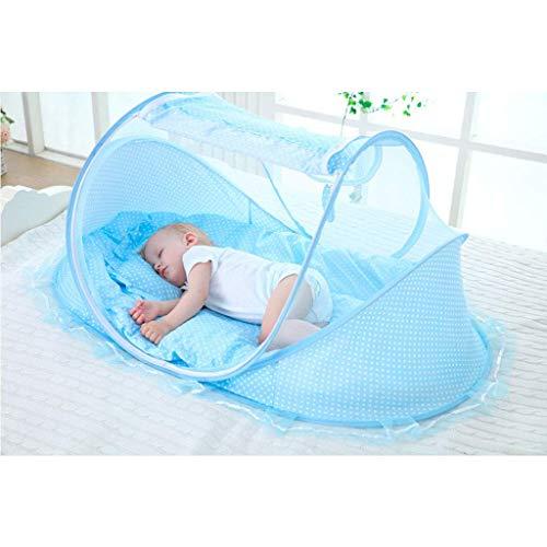 WLD Mosquitera de verano Mosquitera para niños Cama con dosel Protección contra mosquiteros Cúpula redonda plegable Mosquitera para bebés Altura de cuna 60 cm, longitud 110 cm, azul,Azul