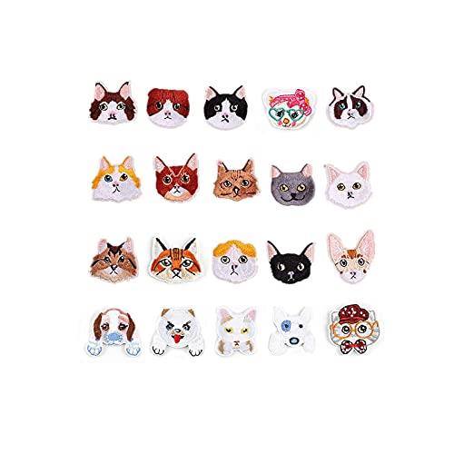 可愛い犬&猫 20枚入り ワッペン 刺繍 アップリケ アイロン ワッペン パッチ 刺しゅうワッペン 可愛い 動物 DIY 飾り 男の子 女の子 入園 ギフト