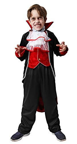 Gojoy Shop- Disfraz Cosplay de Vampiro para Niños y Niñas Carnaval Halloween (Contiene Chaleco con Chaqueta, Pantalón, Cuello y Capa, 4 Tallas Diferentes) (5-6 años)