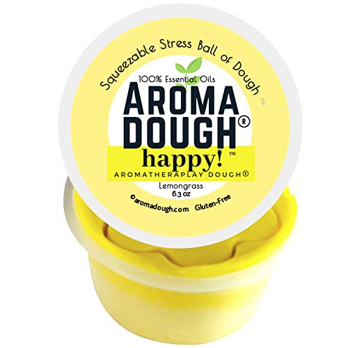 Aroma Dough® Therapy Dough – Lemon Essential Oil Play Dough – Gluten-Free & Non-Allergenic – Child & Adult Therapy Tools – Reduce Stress & Anxiety – Sensory Fidget Room Equipment – Gift Box -8 Oz -