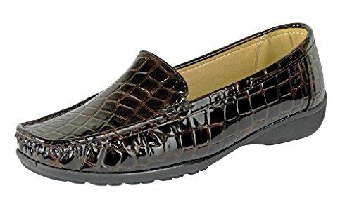 Pierre Dumas Hazel-7 Women's Casual Flexsole Slip On Loafer,Brown Croc,7.5