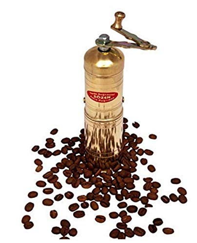 """7"""" Handmade Manual Brass Coffee Mill Grinder Sozen, Adjustable Portable Conical Burr Coffee Mill, Portable Hand Crank Coffee Grinder, Turkish Coffee Grinder"""