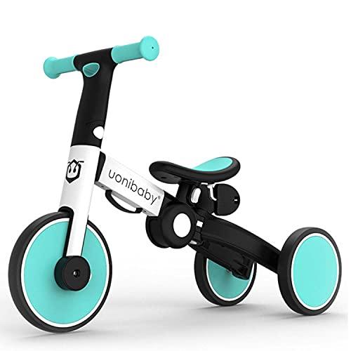 3 En 1 Niño Bicicleta Niños Triciclo Niños Balance Bicicleta Push Bike Pedal Trike Entrenamiento Removible Pedales Ligero Portátil Plegable 2-4 Años Sin Ensamblaje,Azul