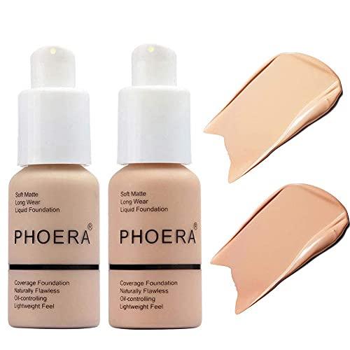 2 Phoera Concealer für flüssige Gesichtsgrundierung, makellose matte flüssige Grundierung für Frauen zur Aufhellung des Hautfarbtons und zum Abdecken von Sommersprossen (#102 und #103)