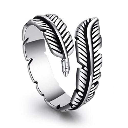 Aukmla Anillo de plata con forma de ala de ángel, ajustable, para boda, compromiso, eternidad, para mujeres y niñas