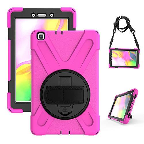 Funda Samsung Galaxy Tab A 8 2019 resistente a los golpes Funda protectora robusta para todo el cuerpo con caballete, asa y correa Protección de 8 2019 pulgadas Adecuado para SM-T290 T295 T297 rosa