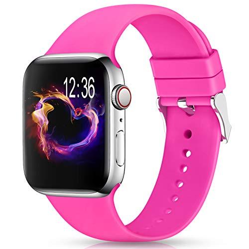 Jiamus Cinturino compatibile con Apple Watch, 38 mm, 42 mm, 40 mm, 44 mm, in morbido silicone, per iWatch Series 6, 5, 4, 3, 2, 1, SE
