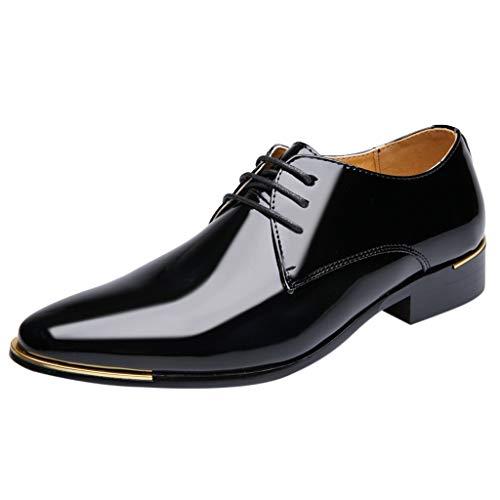FNKDOR Schuhe Herren Geschäft Lackleder Spitz Lederschuhe Formelle Kleidung Berufsschuhe Schnürsenkel Freizeit Business-Schuhe Kleid Schuhe Schwarz 45 EU