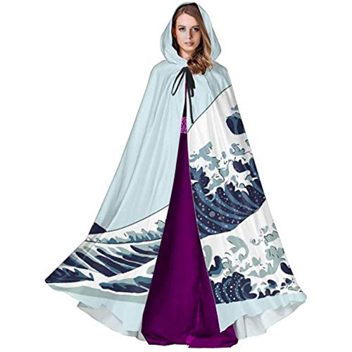 Zome Lag hekmagie omhang,vampierkostuum, volwassene luxe omhang,kap met capuchon, Japan Giant Wave Art motief mantel met capuchon voor mannen Halloween cape cape