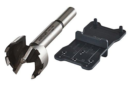 Wolfcraft 8728000 - Broca Forstner CV + plantilla de marcado para bisagras Ø 26 + 35 mm Ø 35 x 90 mm