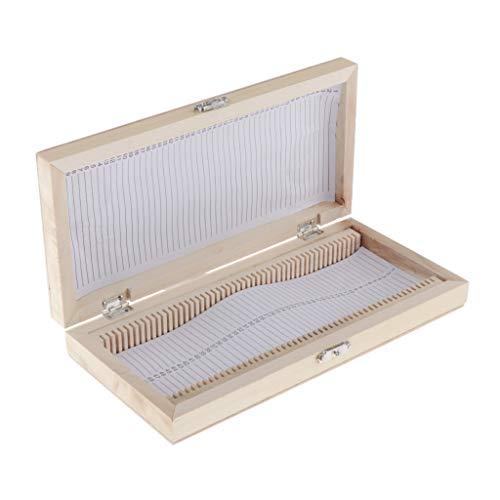 chiwanji Premium Objektträger Box Aufbewahrungsbox Objektträger Kasten aus Holz für 50 Mikroskop-Objektträger